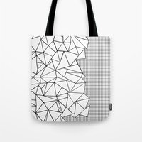 Abstraction Outline Grid on Side White Tote Bag