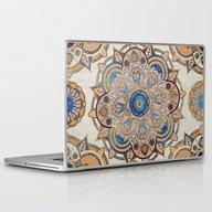Laptop & iPad Skin featuring Blue And Gold Mandala by Mantra Mandala