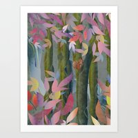 Autumn By A Waterfall Art Print