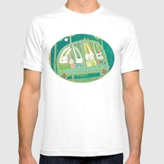 Rabbit journey Mens Fitted Tee White SMALL