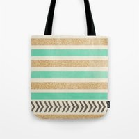 MINT AND GOLD STRIPES AN… Tote Bag