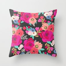 Sweet Pea Floral Black B… Throw Pillow