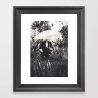 Man With Umbrella - Blac… Framed Art Print