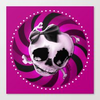 Girly Pink Skull With Bl… Canvas Print