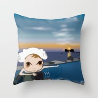 Deery Fairy in Hot Spring Throw Pillow
