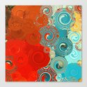 Red and Teal Abstract Swirls Canvas Print