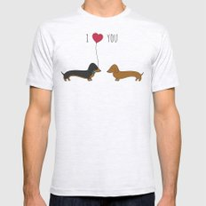 DACHSHUND LOVE Mens Fitted Tee Ash Grey SMALL
