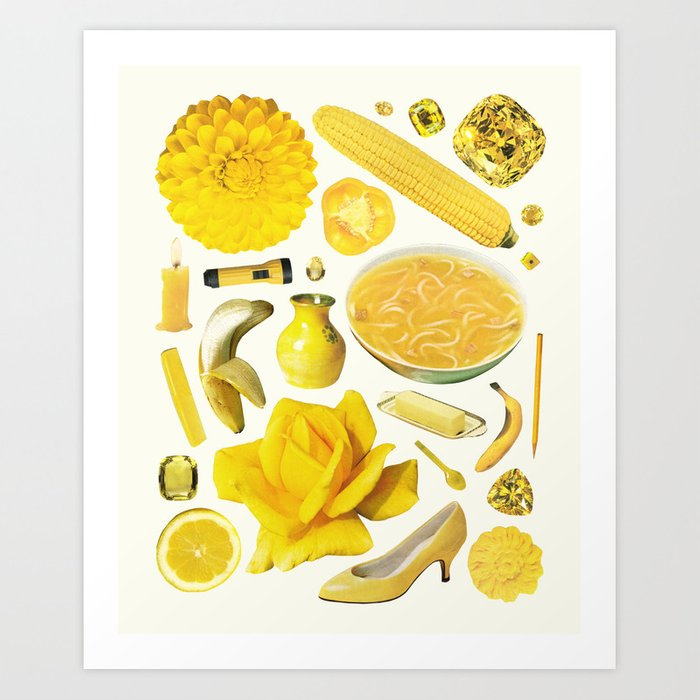 Sunday's Society6   Yellow art print with yellow products