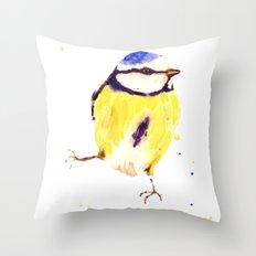 Blue Tit, bird painting, bird illustration, British birds, bird spotter gift Throw Pillow