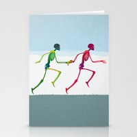 Running Sketeton With Ba… Stationery Cards