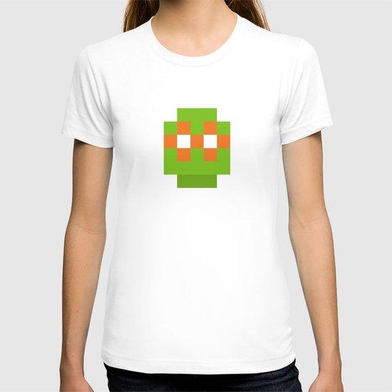 hero pixel green orange T-shirt