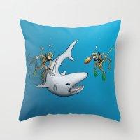 Monkeys Fighting Shark Throw Pillow