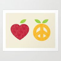 Apple and Orange - Love and Peace Art Print