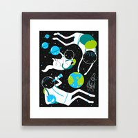 A Day Out In Space - Black Framed Art Print