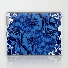 blue floral circle on blue floral Laptop & iPad Skin