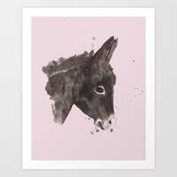 Rose Gray Donkey Art Print