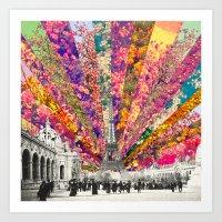 paris Art Prints featuring Vintage Paris by Bianca Green