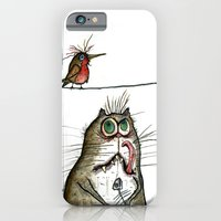 iPhone & iPod Case featuring A Cat ponders, fish or poultry? by Joe Pugilist Design