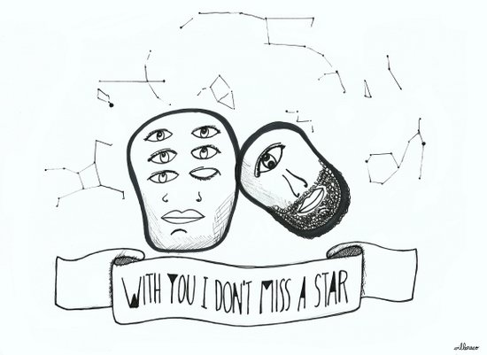 With you I don't miss a star Art Print