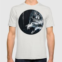 The Moon Is Full Again Mens Fitted Tee Silver SMALL