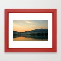 The Lake at Sunset, Kyoto Japan Framed Art Print