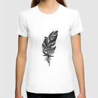 feather T-shirts featuring feather by Nastya Bogdanova