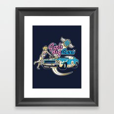 GIRLS DIG CARS Framed Art Print