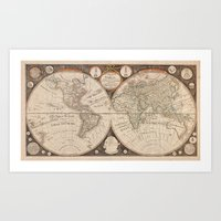 world map Art Prints featuring World Map by Le petit Archiviste