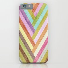 Wood colorful stripes iPhone 6 Slim Case