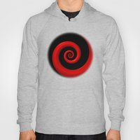 Red Spiral on Black Background Hoody