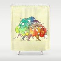 Opossum Rainbow Babies Shower Curtain