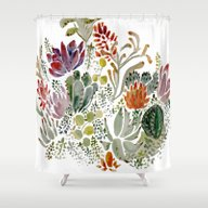 Shower Curtain featuring Succulents  by Hannah Margaret Illu…