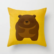 Bees and Bear by Friztin Throw Pillow