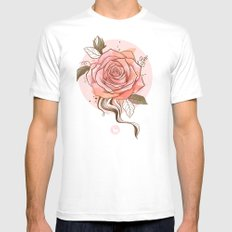 Vintage rose  White SMALL Mens Fitted Tee