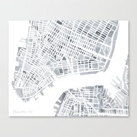 Map Manhattan Gray NYC Canvas Print