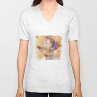 Profile Woman And Flower… Unisex V-Neck