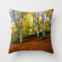 Autumn Trees Woodland Throw Pillow
