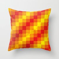 Rusty yellow and red motive Throw Pillow
