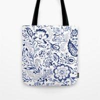 Folk Floral Indigo Tote Bag