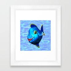 Cute Blue Fish Cartoon 3D Digital Art Framed Art Print