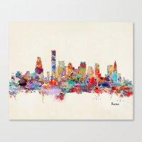 Boston City Watercolor Canvas Print