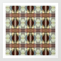 Brown And Blue Pattern Art Print