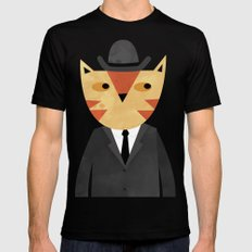Ginger Cat in a Bowler Hat SMALL Mens Fitted Tee Black