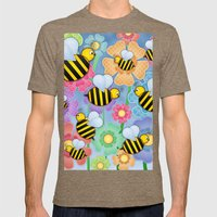 Busy Buzzers. Mens Fitted Tee Tri-Coffee SMALL