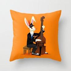The Jazz Bunny Throw Pillow