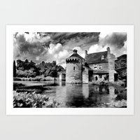Black and White Scotney Castle Art Print