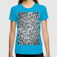 Boxes & Bubbles In Mono Womens Fitted Tee Teal SMALL