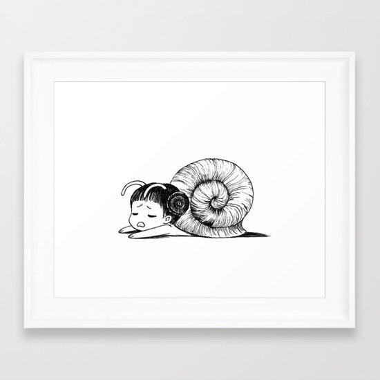Snail girl Framed Art Print