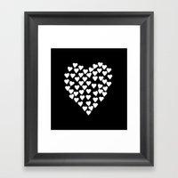 Hearts on Heart White on Black Framed Art Print