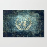 The United Nations Flag - Vintage version Canvas Print
